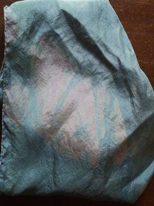 Natural variation in natural woad indigo scarf