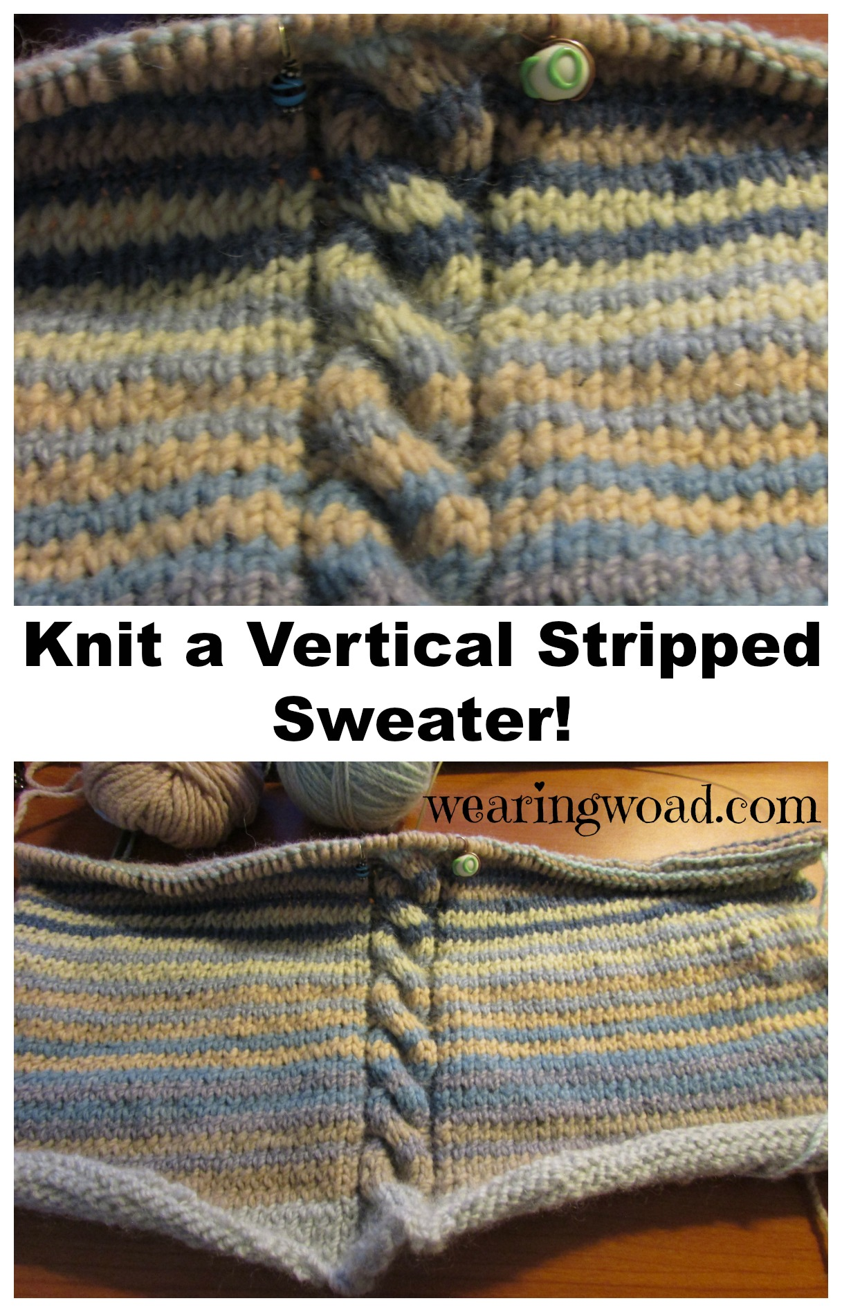 Knit Vertical Stripes Pattern : A work in progress knitting sweater with vertical