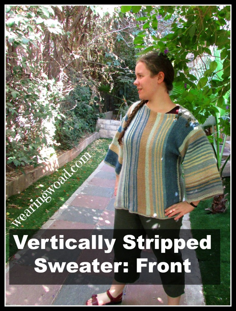 front of the first Vertically stripped sweater