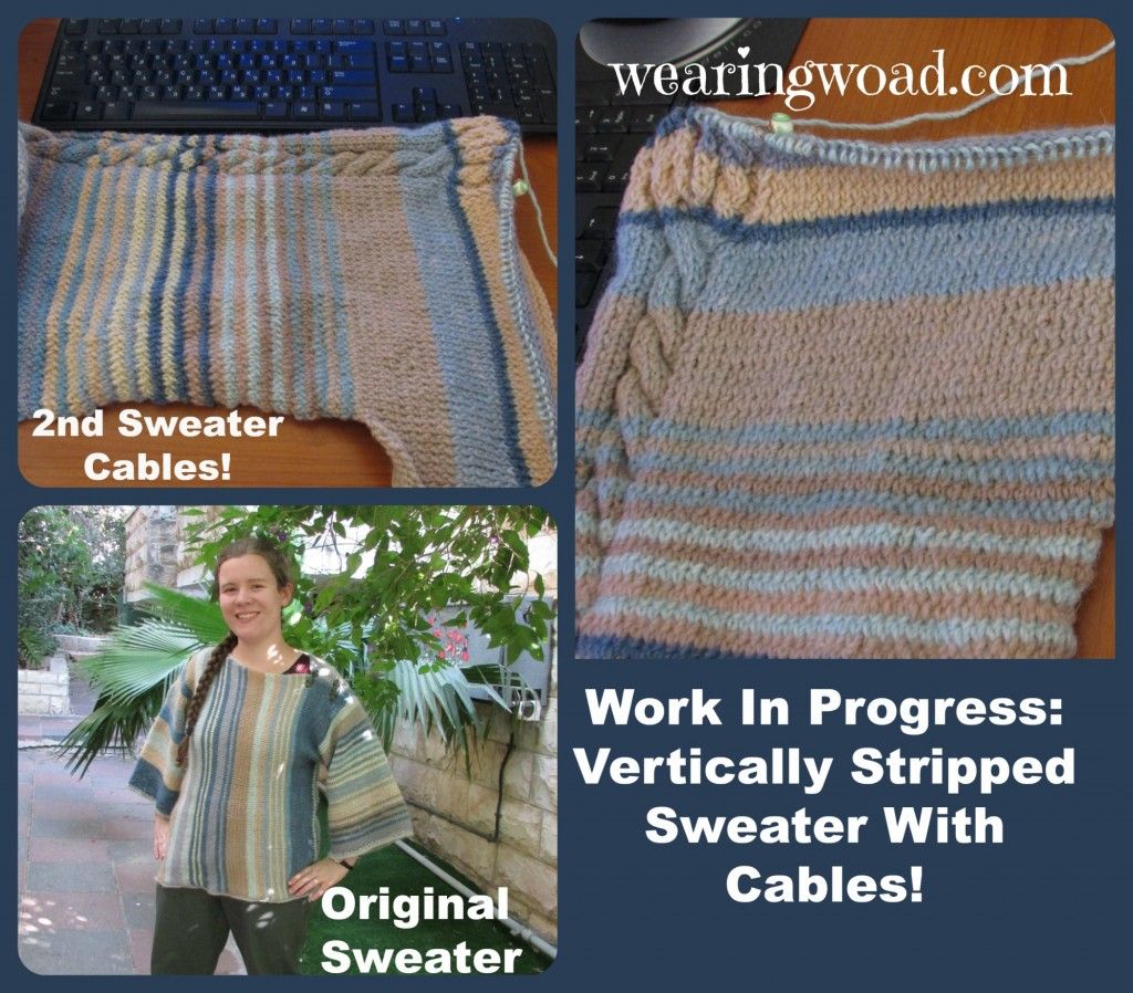 original sweater with the new in-progress sweater cables and neck division