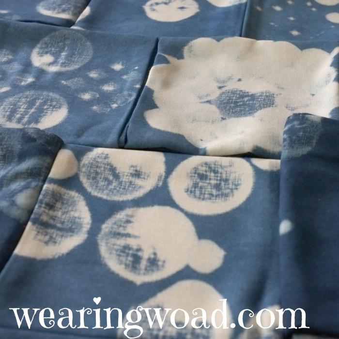 indigo dyed shibori resist folded fabric
